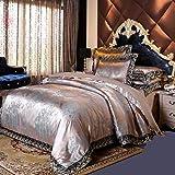 PYCLIFE Elegant European Paisley Damask Design Fabric Jacquard Weave Duvet Cover 3 Piece Quilt Cover Bedding Set,No Comforter (Grey, King)