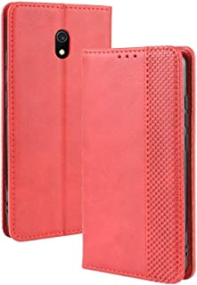 Yhuisen PU Leather+Soft Inner Design Business Magnetic Closure Flip Wallet Case Cover Compatible with Redmi 8A (Color : Red)