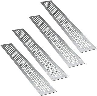 sossai® aluminium ventilatierooster - Alucratis (4 stuks) | Rechthoekig - afmetingen: 48 x 6 cm | Kleur: inox | afvoerluch...