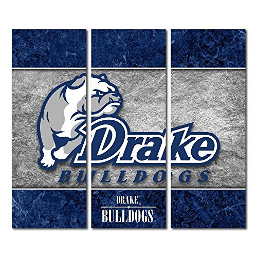 Victory Tailgate Drake University Bulldogs Triptych Canvas Wall Art Double Border (48x54 inches) image