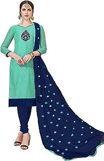CRAFTSTRIBE Jam Cotton Thread Work Light Olive Color Indian Occasion Dress Unstiched Dress Material Salwar Kameez for Women