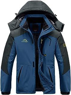 EKLENTSON Mens Coats-Winter Waterproof Jacket Windbreaker Climbing Skiing Jacket Fleece Warm Outerwear Sports Hooded Coat ...