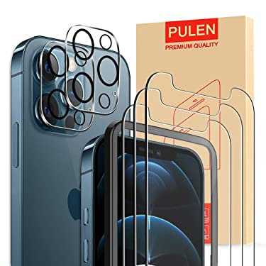 [2+3 Packs] PULEN Tempered Glass for iPhone 12 Pro Max 5G Screen Protector (3 Packs) with 2 Packs Camera Lens Protector (6.7 Inch),HD Clear Scratch Resistant Bubble Free Anti-Fingerprints 9H Hardness+Easy Installation Tray