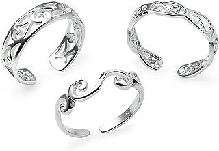 Silverline Jewelry Sterling Silver Toe Rings, 3 Pcs Adjustable Open Toe Rings Set