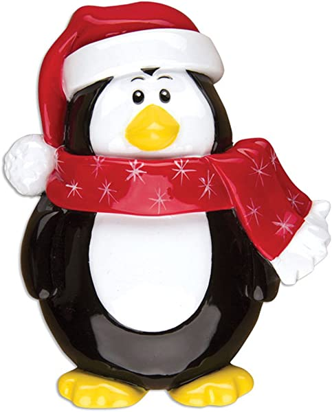 Personalized Penguin Character Christmas Tree Ornament 2019 Figure Red Hat Snowflake Scarf Fun Holiday Tradition Grand Kid Daughter Love First 1st Nursery Gift Year Free Customization