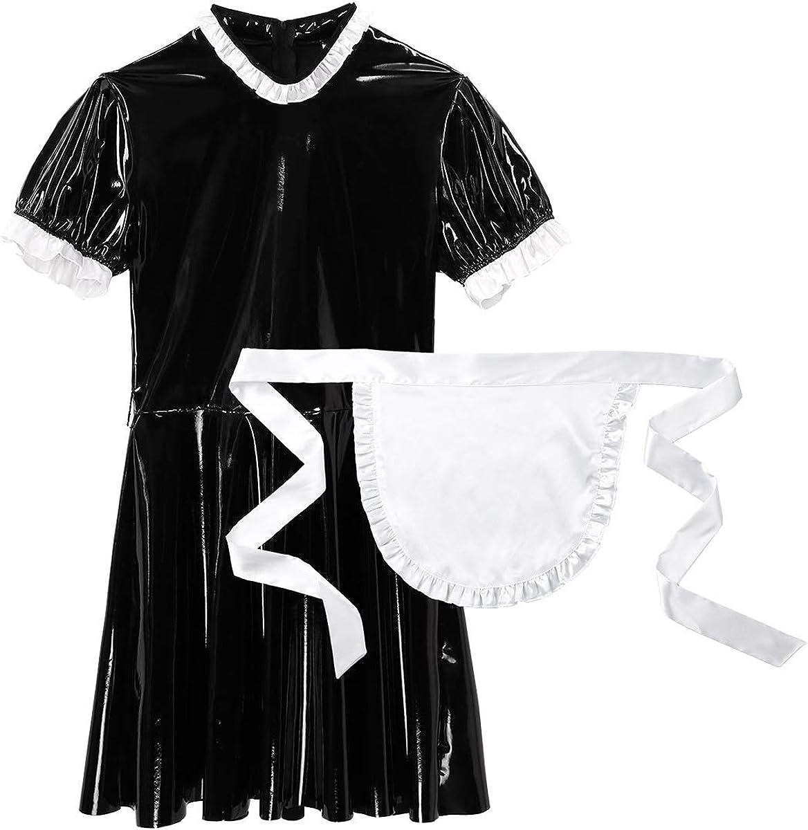 訳あり品送料無料 MSemis 在庫あり Men's Sissy French Maid Crossdress Lingerie Nightwe Dress