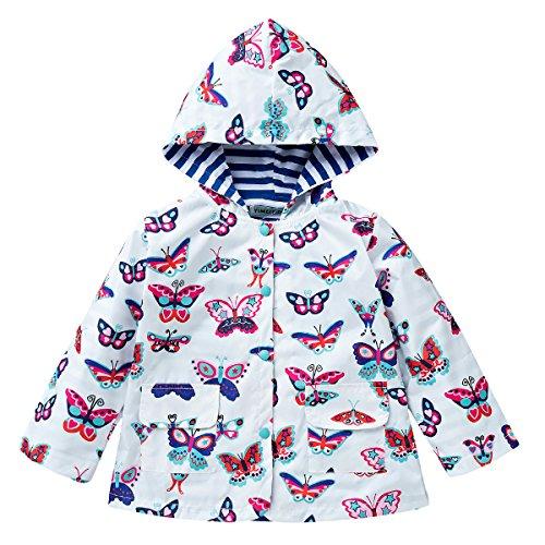 LZH Kids girls Jacket Waterproof Outwear Raincoat Hoodies Butterfly 4T(For Age 4Y)