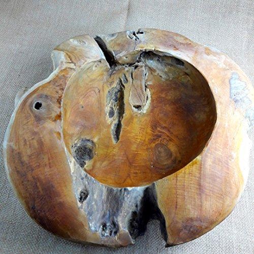 CC Teak Schale Holz Teakholz Obstschale ca.40 cm UNIKAT mit Kleinen Fehlern