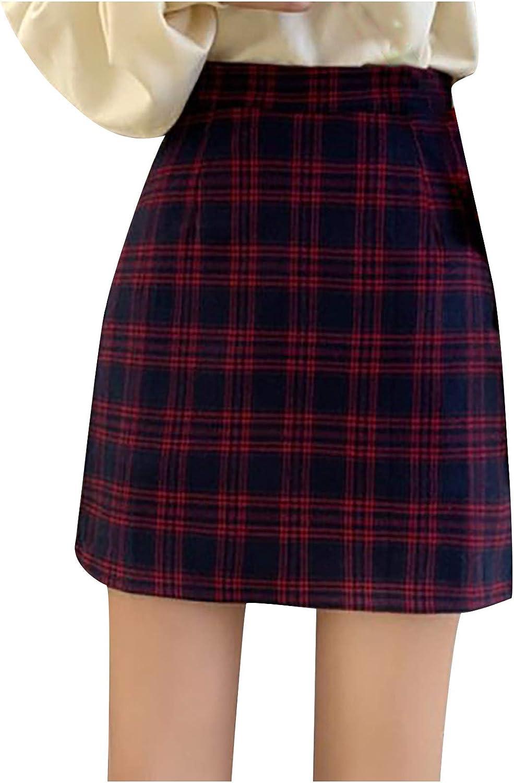 hnmkiu Women Fashion Mini Plaid Printed Skirt Strap Elastic Ladies Slim Short A-line Skirts