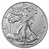 Gem Brilliant Uncirculated Type 2 2021 American Silver Eagle $1 Legal US Tender 1 oz of .999 Fine Silver Comes in Plastic Flip Holder New Type 2 Reverse