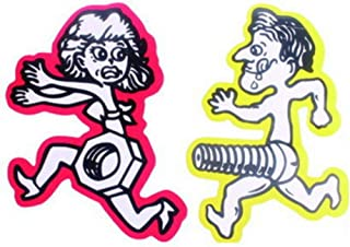 Brave669 1 Pair Funny Men Bolt Chase Women Nut Run Car Sticker Motorcycle Decal Accessory Yellow Man