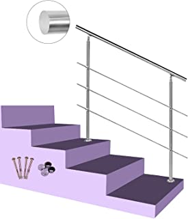 Multiple Indoor and Outdoor Railings 2 Columns Silver YIKE-Handrail Stainless Steel 304 Round Tube Stair Handrails Used for Balcony Home Safety Handrails