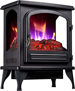 Freestanding Electric Fireplace, Visible Flame on Three Sides Adjustable Thermostat and 2 Heating Settings Overheating and...