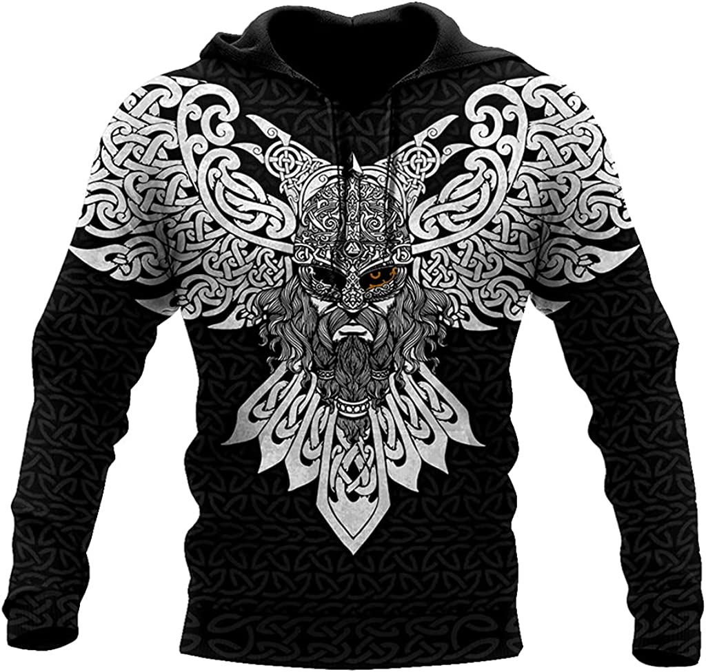 Odin Myth Hoodie 3D Print Casual Loose with Big Pockets Couples Pullover Sweater Harajuku Autumn Coat Vikings Gift