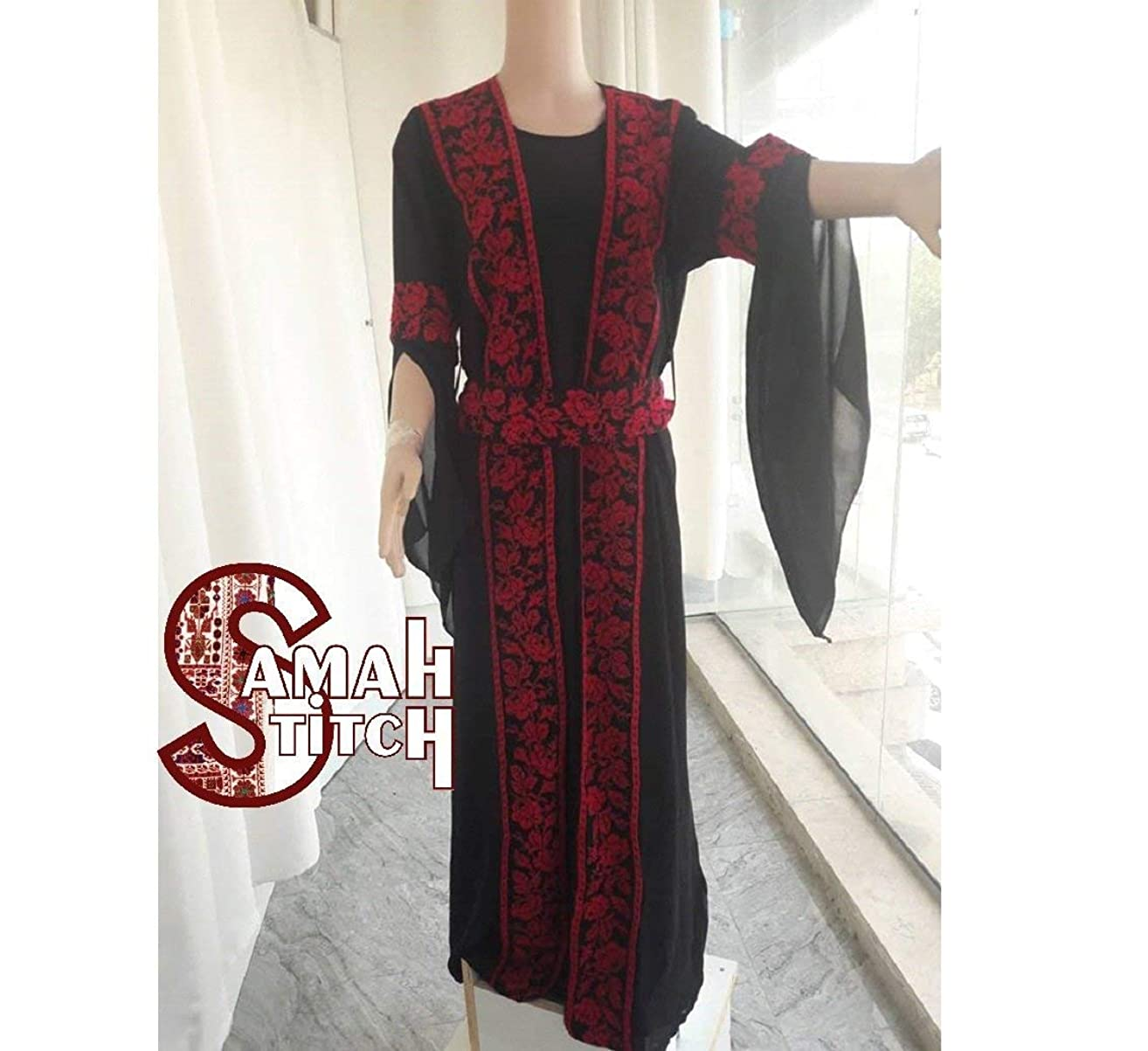2019 Hand Made Embroidered Black Chiffon Dress with Belt, Unique design, new Abaya style - Palestinian Embroidery, DMC Thread High Quality