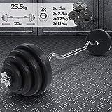Barre Curl de Musculation avec Poids - Poids Total 23.5 kg, Longueur 120 cm, 8 Disques avec Revêtement en Plastique et 2 Fermoirs en Forme d'Étoile - Disques, Haltère Long EZ pour Fitness