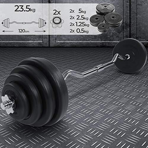 Curl Bar - Set con 8 Dischi di Peso, di 23,5 kg Totale, Lunghezza 120 cm, Ø 25 mm, con 2 Fermadischi - Bilanciere Curvo Ez, Barra Olimpica da Palestra, Fitness