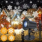 Decorative Moving Snowflake Snow Fall Projector Light for Christmas Party, Waterproof Projection Light for Indoor & Outdoor Landscape Patio Garden