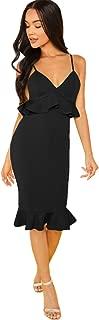 Women's V Neck Ruffle Hem Fishtail Bodycon Peplum Cami Party Dress