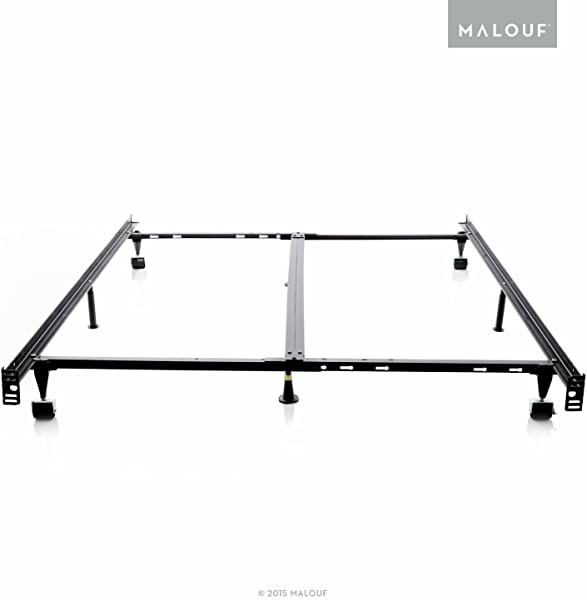 STRUCTURES Low Profile 8 Leg Heavy Duty Adjustable Metal Bed Frame With Rug Rollers And Locking Wheels Universal Size Cal King King Queen Full XL Full Twin XL Twin