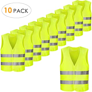 PRASACCO High Visibility Safety Vest, Yellow Vest, 28 x 27 inch, Fluorescent Motorcycle Auto, High Visibility, XXXL, Washable, Wrinkle Free,for Outdoor Works, Cycling, Walking,Sports