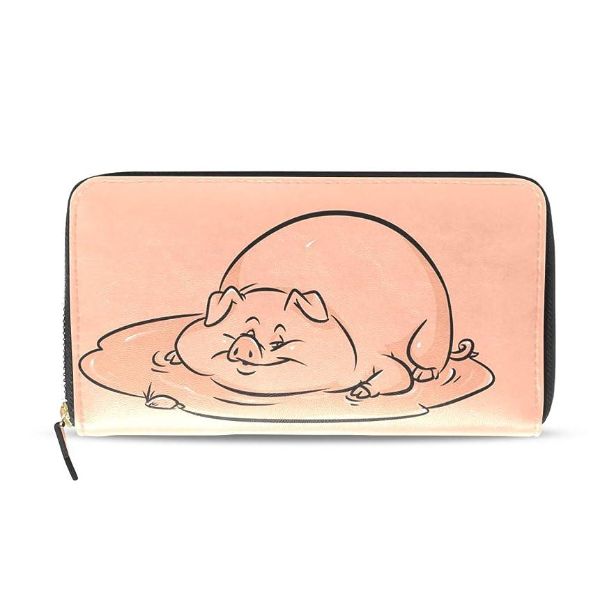 こどもの宮殿はねかけるスノーケルAOMOKI 長財布 財布 ラウンドファスナー 北欧 ギフト プレゼント PU レザー 大容量 通学 通勤 旅行 幅20*丈11cm ピッグ 豚柄