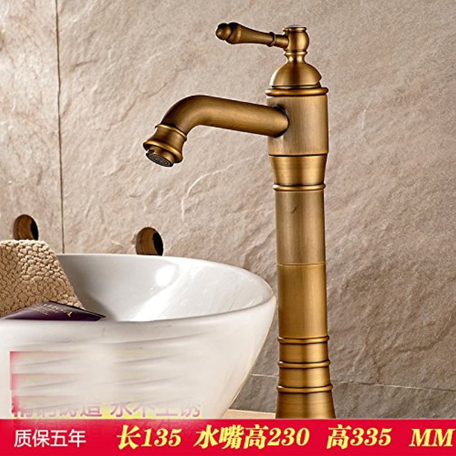 Hlluya Professional Sink Mixer Tap Kitchen Faucet Antique Basin Mixer Taps and cold water faucet, gold