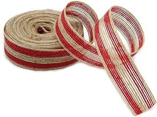 Holiday Burlap Ribbon Roll Jute Red Fish Silk Hemp Rope for DIY Craft Project Gift Wrap Christmas Tree Decoration Wedding ...