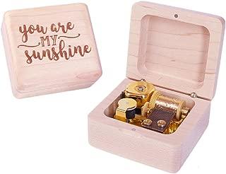 Sinzyo Wood Music Box Mini Music Box with Sankyo Movement Play You are My Sunshine Music Box for Christmas Birthday Box