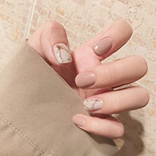 Adflyco Glossy Marble Square Press on Nails Nude Short Fake Nails Acrylic Full Cover False Nails for Women and Girls(24Pcs)