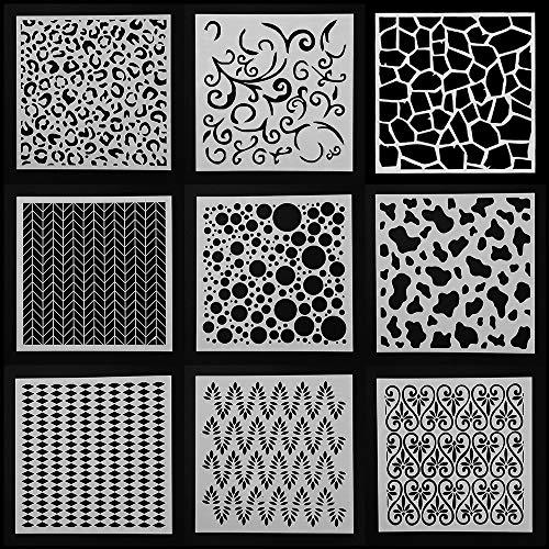 Schablonen zum Basteln, geometrische Muster, Wände, Malerei, Scrapbooking, 9 Stück für Stempel, Album-Dekoration