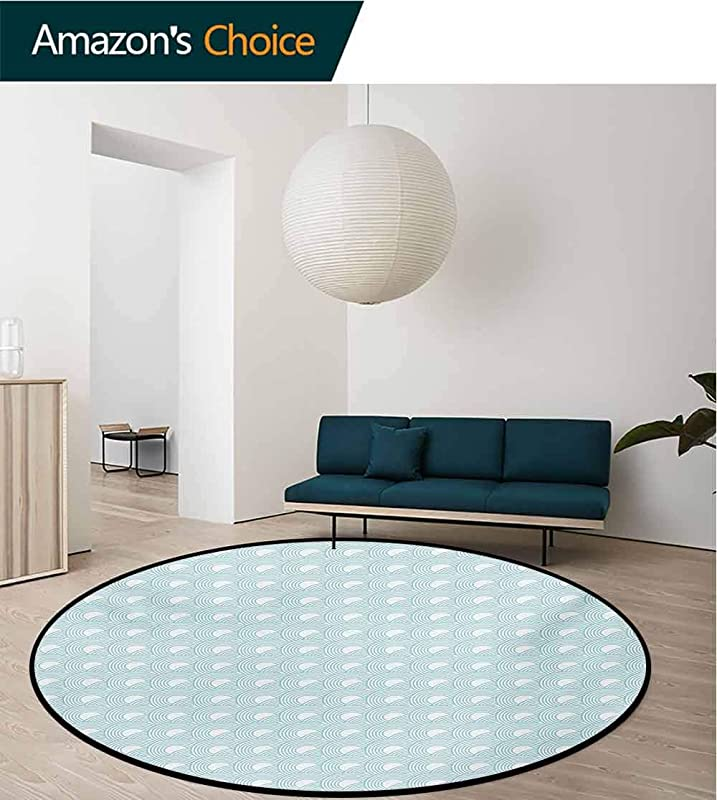 RUGSMAT White Modern Machine Round Bath Mat Nested Overlapping Circles Abstract Rising Sun Theme In Cold Colors Serenity Non Slip No Shedding Kitchen Soft Floor Mat Diameter 35 Inch