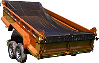 Dump Trailer Tarp Mesh with Grommets/ Heavy Duty Dump Truck Tarp with Tough Vinyl- Coated Fabric Inside of Double 6'' Pockets, Applied on Dump Truck and Trailer Tarp System (7'x18')