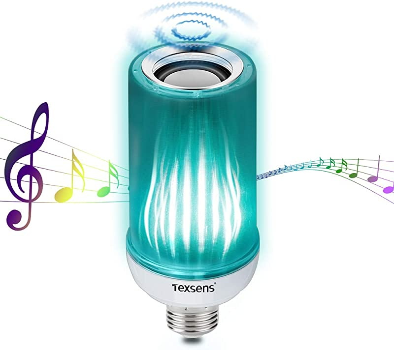 Texsens Bluetooth Bulb Speaker 8W E26 LED Music Lamp With Updated Remote Control Superior Stereo Sound Upside Down Light Mode Long Tube Size RGB Mixed White
