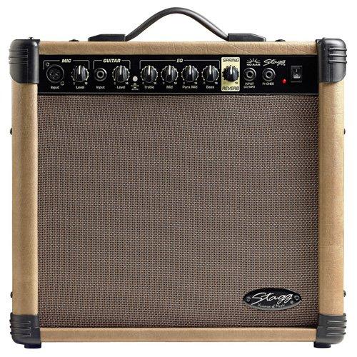 Stagg 40 AA R EU Amplificateur de Guitare Acoustique avec Spring Reverb 40 W Noir