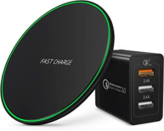 Wireless Charger with QC 3.0 Adapter, 7.5W Fast Wireless Charging Pad Compatible with iPhone 11/11 Pro / 11 Pro Max/XS Max/XR/XS/X /8/8 Plus,10W for Samsung Galaxy S10/S10+/S9/S8, Note 10 9