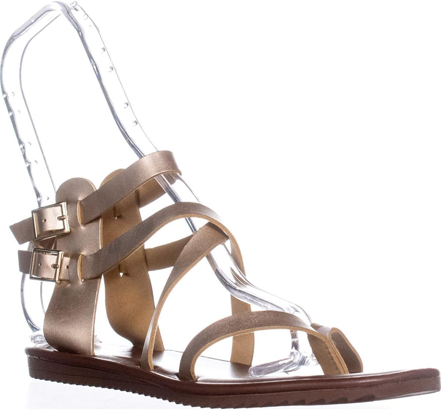 Seven Dials Womens Sync Split Toe Casual Gladiator Sandals, gold, Size 7.0