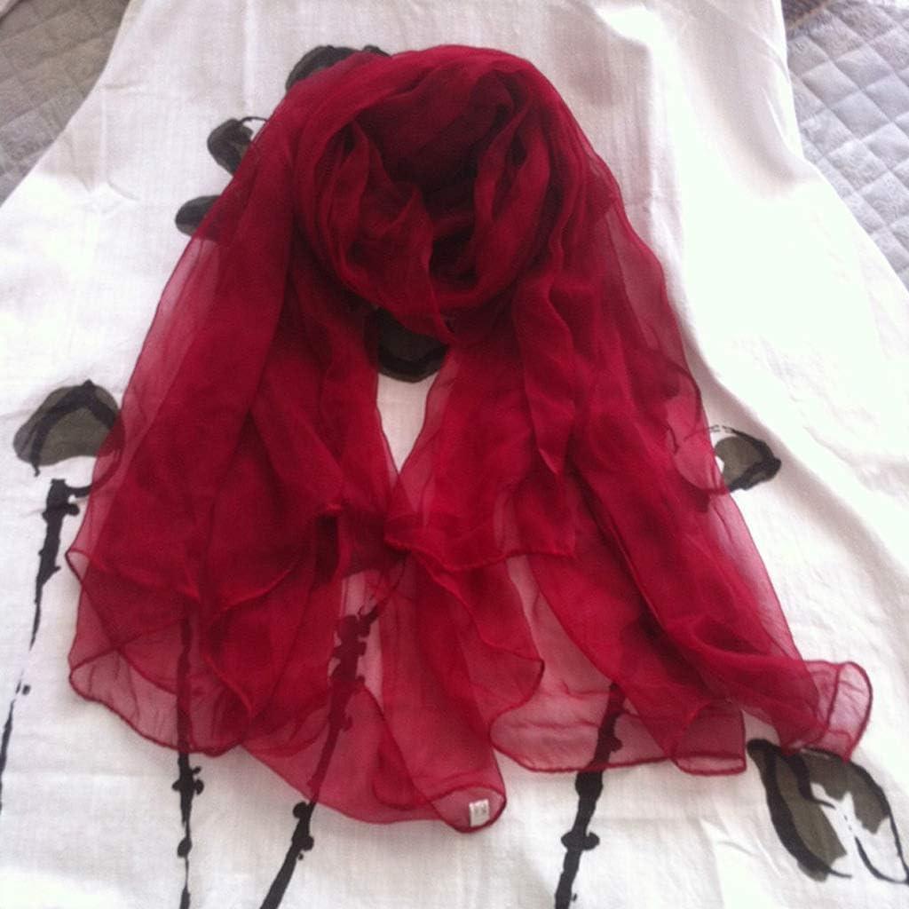 HKDQZ hkdoz Summer and Autumn Ladies Silkworm Silk Shawl Wine Red Fashion All-Match Silk Scarf Soft Breathable Scarf Sunscreen Beach Towel