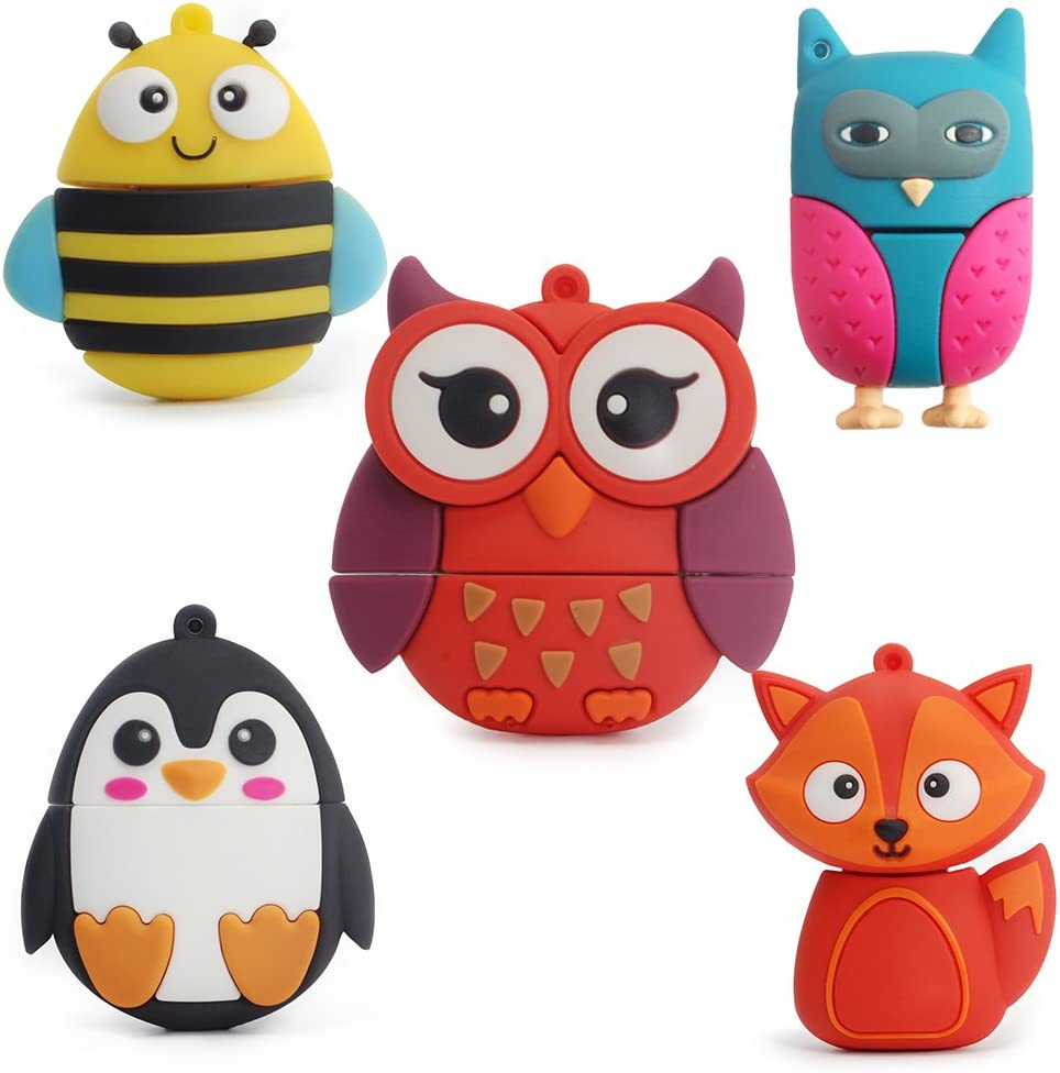 LEIZHAN Max 62% OFF 5X8GB Cute Animals USB Flash Ow Fox Drive Chain Bee It is very popular with