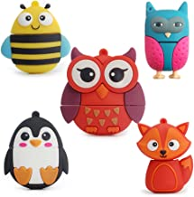 Flash Drive 5x16GB Thumb Drive Animals USB Flash Drive with Chain Bee Fox Owls Penguin Pen Drive Gift for School Kids and Students(Pack of 5 Animals)