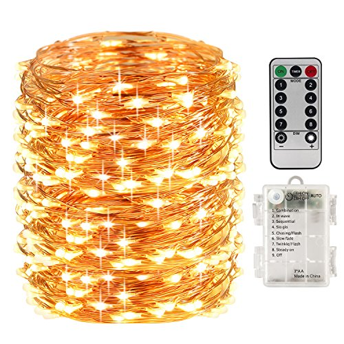 LightsEtc 66 Feet 200 Led 8 Modes Indoor Fairy String Lights with Battery Remote Timer Control Operated Waterproof Outdoor Copper Wire Fairy Lights for Room Wedding Garden Party Wall Tree Decoration