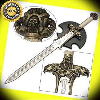 Engraved Steel Double Edged Conan Barbarian Antiquated Atlantean Sword & Plaque perfect for cosplay outdoor camping