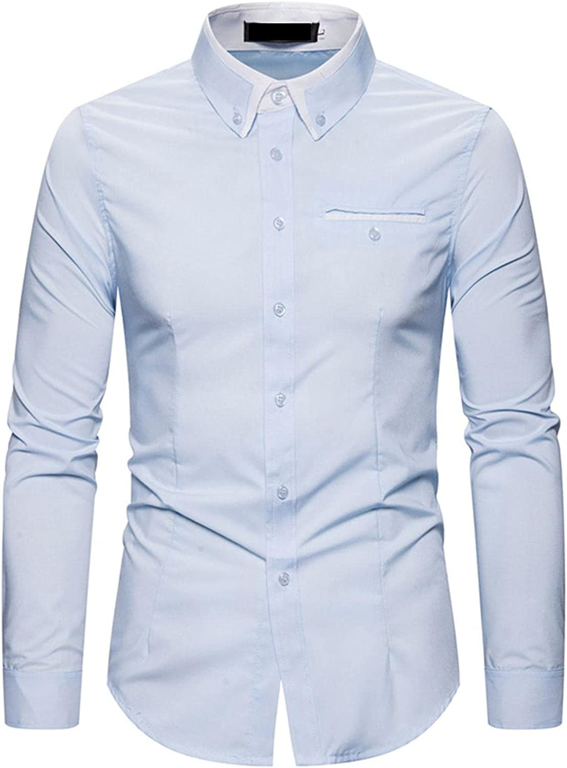 Huangse Men's Classic Fit Business Dress Shirt Long Sleeve Casual Fashion Patchwork Button Down Shirt with Pocket