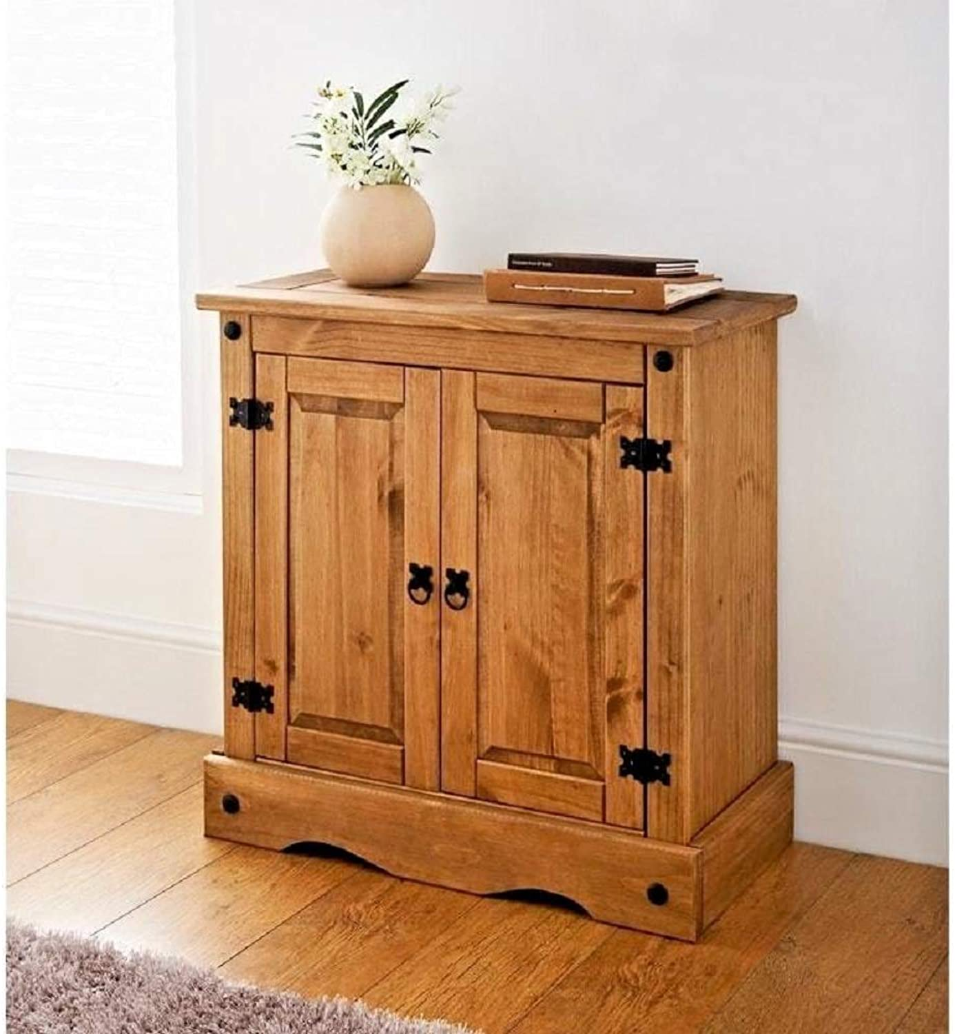Mews Cgoldna 2 Door Small Sideboard, Mexican Style Waxed, pine, 75cm W x 36cm D x 73cm H