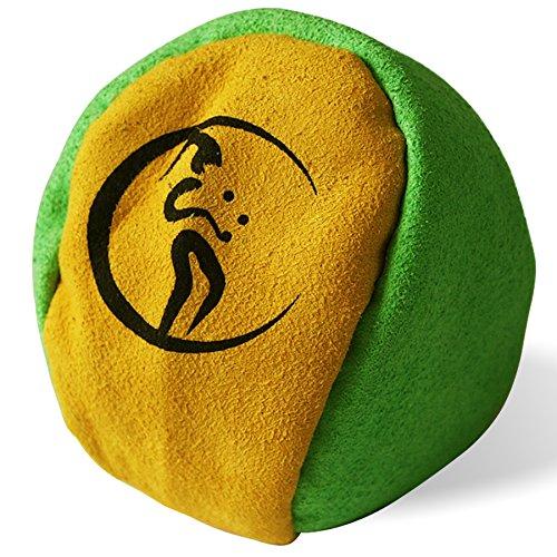 Profi Hacky Sack 2 Paneelen (Grun/Gelb) Pro Freestyle Footbag! Hacky Sacks für Anfänger, ideal für Stände, Fänge, Verzögerungen u. Tritte!