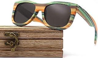 CZA - CZA Hecho a Mano para Hombre de Las Gafas de Sol de bambú del Brazo de Madera con Patas de Madera y Lentes polarizadas Gafas de Madera,Gris