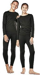 DEVOPS Boys & Girls Thermal Heat-Chain Microfiber Fleece Underwear Baselayer Top & Bottom Set