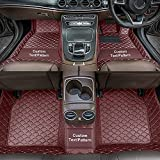 Dinuoda Alfombrillas de coche personalizadas para Mercedes-Benz Clase A Clase B Clase C GLE GLK GLS SL SLC SLK Full rodeado de protección para todo tipo de clima XPE alfombras de cuero color café