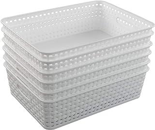 Inhouse Lot de 6 paniers de rangement en plastique pour étagères Blanc A4