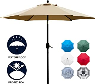 Sunnyglade 7.5` Patio Umbrella Outdoor Table Market Umbrella with Push Button Tilt/Crank, 6 Ribs (Tan)
